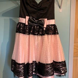Strapless Pink and Black Formal Dress